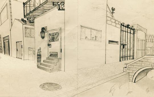 二点透視図法 イラスト デザイン 建物 アナログ 美術 昼休みに学校で描いたもの レトロっぽく描けない.